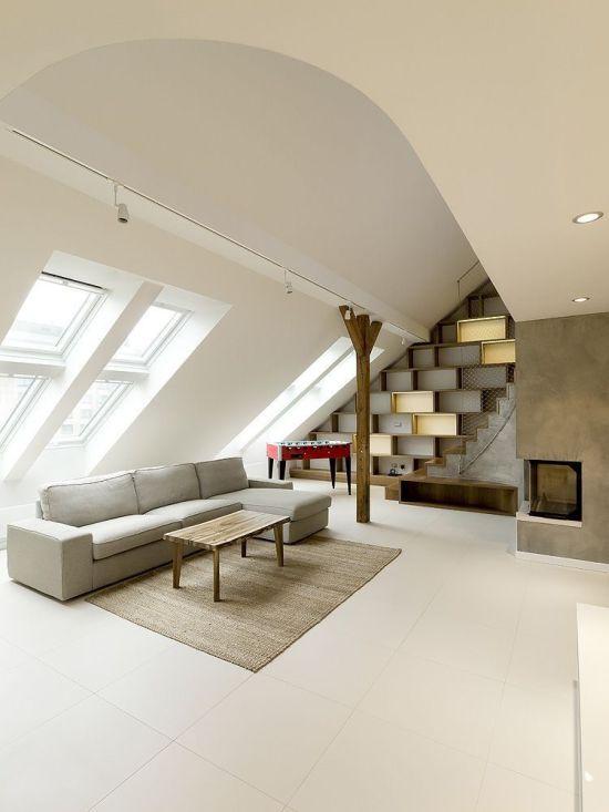 Loft jellegű lakás sarkos kandalló