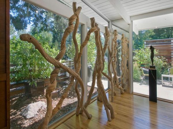 amerikai lakberendezés szobrokkal, faszobor