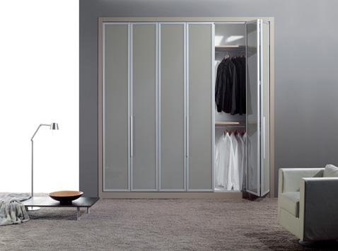 Aluminium vékony keretes eltolható harmonika ajtós szekrény