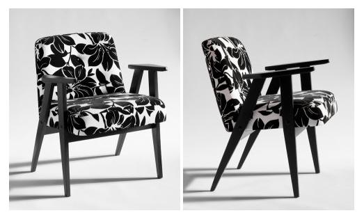 Felújított és újrakárpitozott retró fotel fekete-fehér