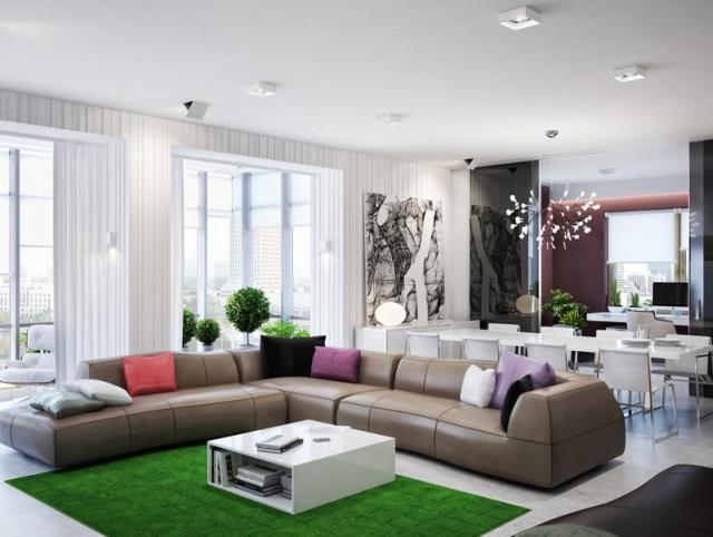 Fotórealisztikus látványterv nappali kanapéval
