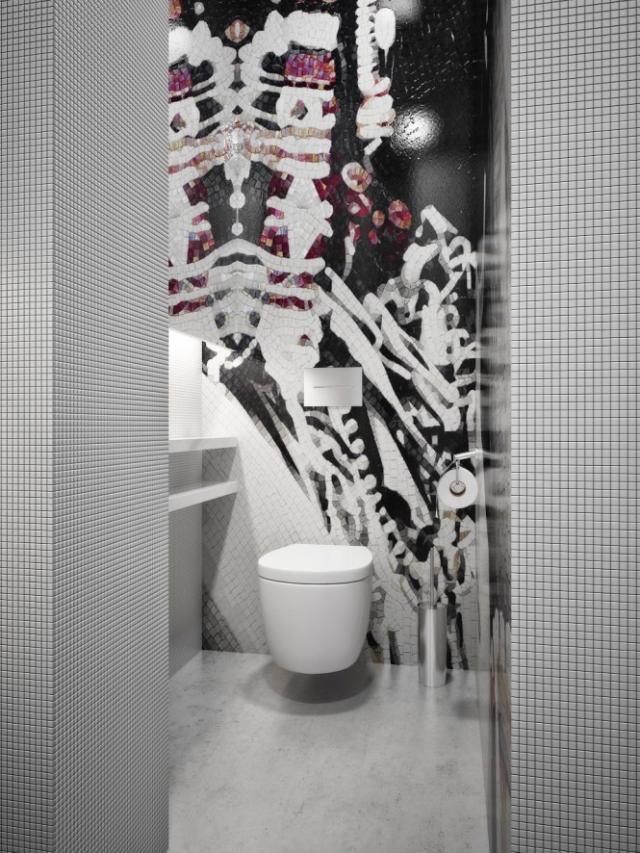 Fotórealisztikus látványterv wc mozaikburkolattal
