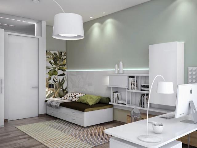Fotórealisztikus látványterv gyerekszoba ágy és szekrények