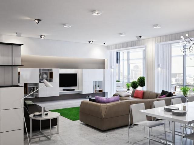 Fotórealisztikus látványterv fehér nappali és étkező