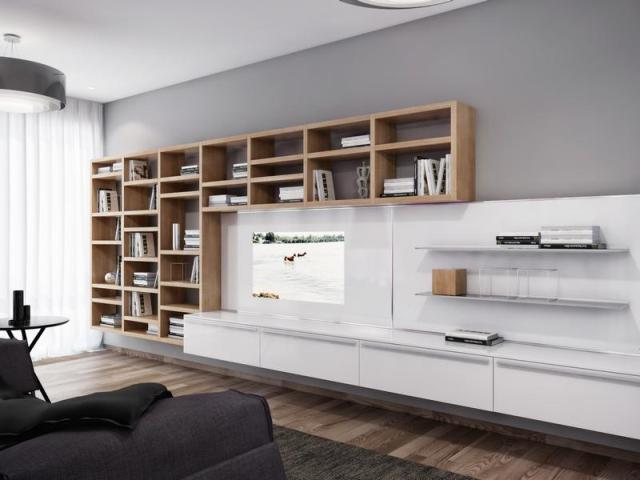 Fotórealisztikus látványterv nappali könyvespolcok és tv állvány