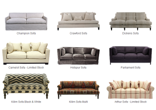 Andrew Martin angol stílusú exkluzív szövetes és bőr kanapék