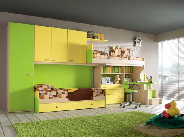 Gyerekbútor kompozíciók helytakarékos megoldásokkal