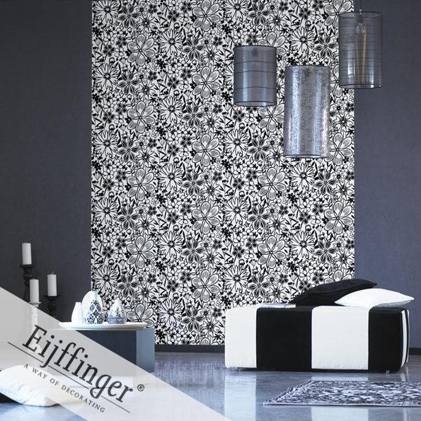 Eijffinger retró-vintage tapéta fekete-fehér virágos