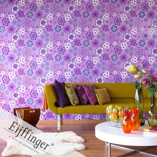 Eijffinger retró-vintage tapéta lila virágos