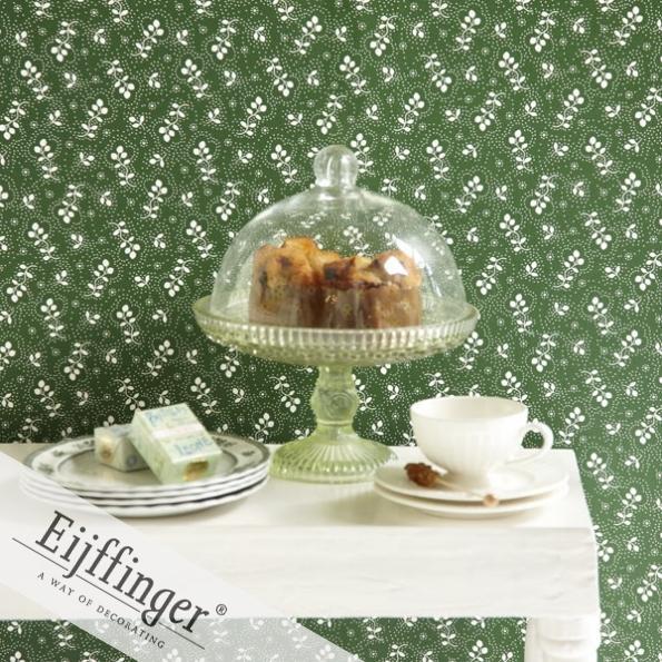 Eijffinger retró-vintage tapéta apró zöld virágos