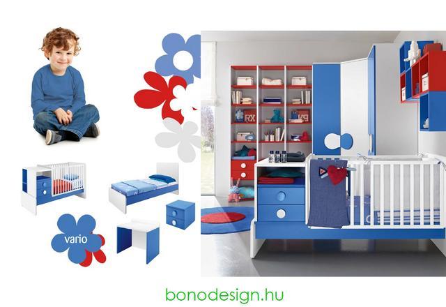 Kék-fehér-piros babaszoba bútor