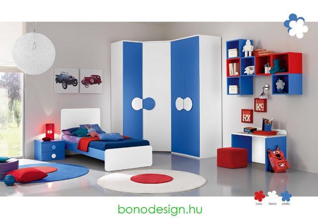 Kék-fehér-piros gyerekszoba bútor