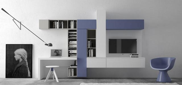 Kék fehér nappali bútor - living room