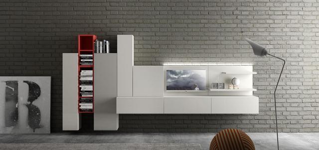 Piros fehér magasfényű nappali bútor