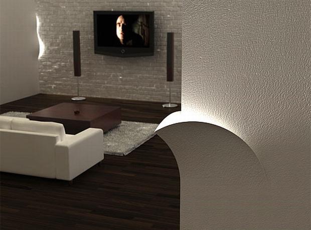 Falba épített lámpa