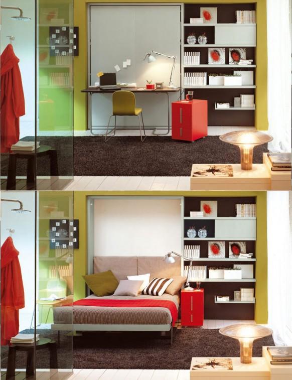 Ágyszekrény és íróasztal kombináció