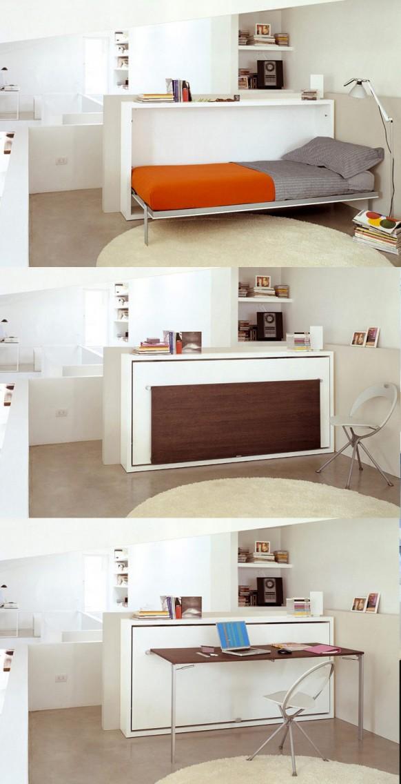 Egyszemélyes ágyszekrény összecsukható íróasztal