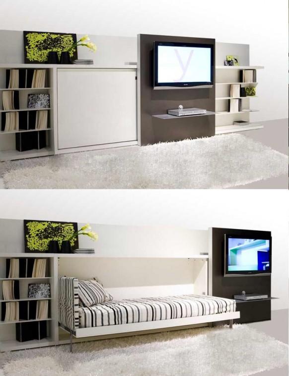 Ágyszekrény eltolható tévéfallal