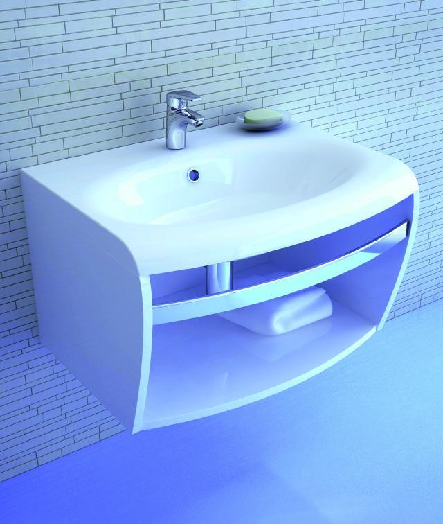 Ravak evolution fürdőszoba szekrény akril mosdóval