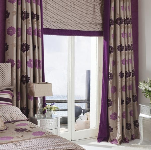 Dekorfüggöny lila sötétítőfüggönnyel