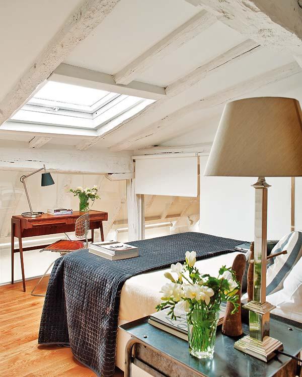 Rusztikus hálószoba loft jelleg