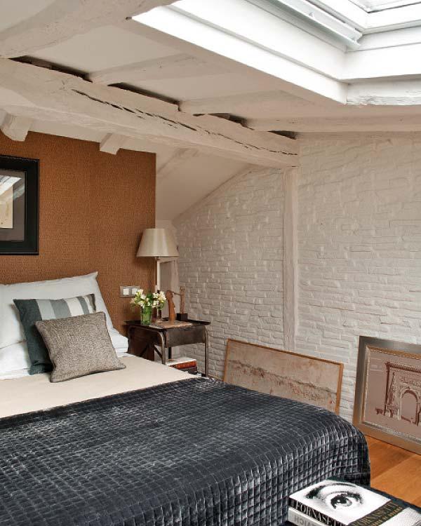 Rusztikus hálószoba loft jelleggel