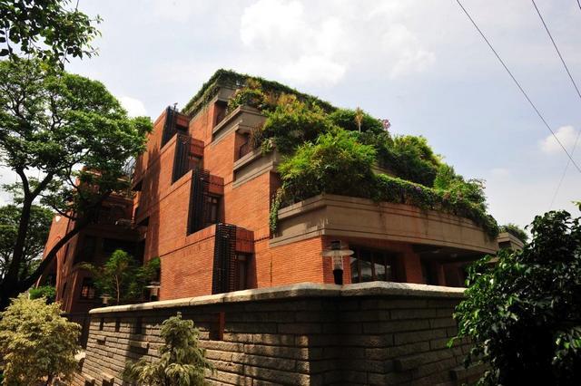 Zöld terasz modern többszintes ház