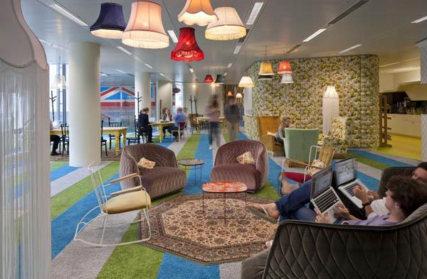 Google londoni iroda belsőépítészet
