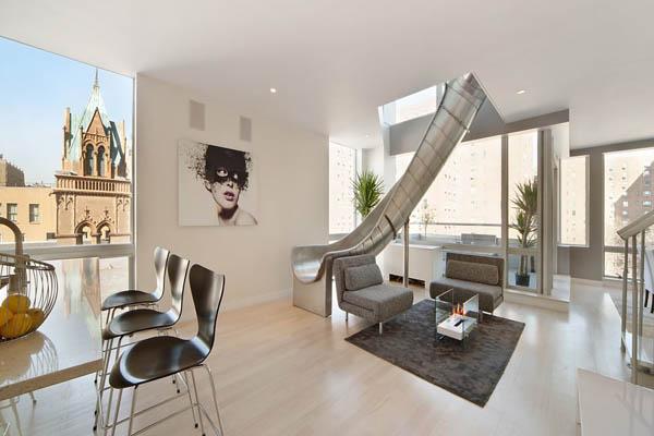 Kétszintes penthouse csúszdával