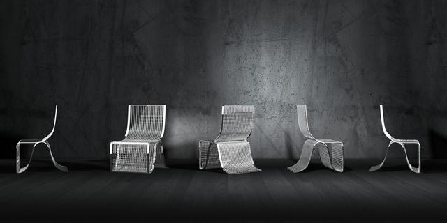 Chequered krómozott acél szék Dima Loginoff