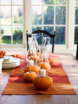 Őszi dekorációs ötletek sütőtök asztali dísz gyertyatartó