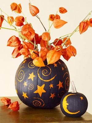 Őszi dekorációs ötletek sütőtök váza festett sütőtök helloween tök