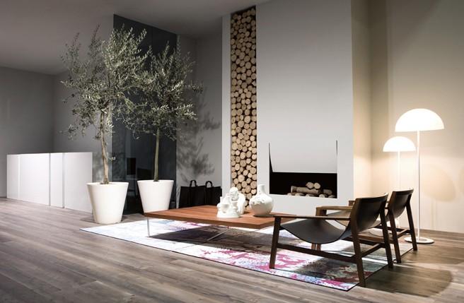 Antonio Lupi fatüzelésű kandalló nappaliba