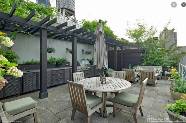 Tetőterasz kerti bútorok és grillsütő bbq