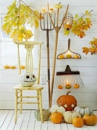 Halloween dekoráció és őszi termések