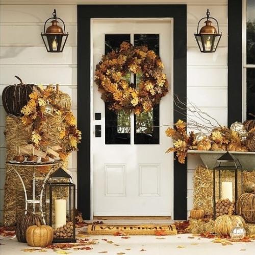 Őszi ajtódísz tölgyfalevél koszorú