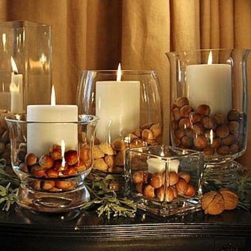 Üveg gyertyatartó őszi dekorációs ötletek