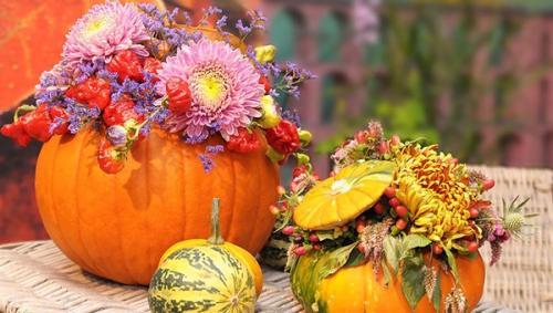 Sütőtök és dísztök dekoráció őszi virágokkal