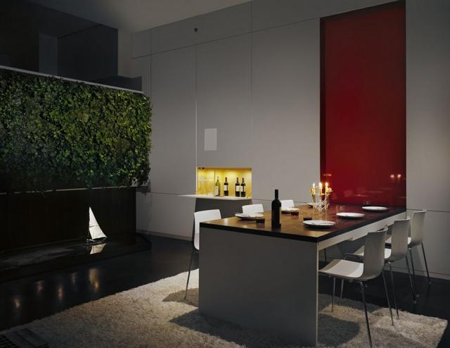 Bortartó falfülke és étkezőasztal