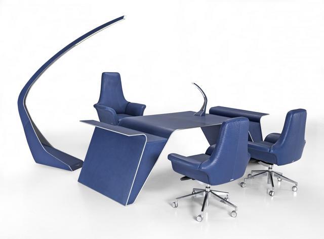 Aston Martin luxus irodabútor görgős fotel tárgyalóasztal