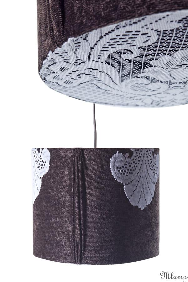 Lámpaernyő / függőlámpa: szürke hengerernyő, oldalt és alul fehér csipkével díszítve.