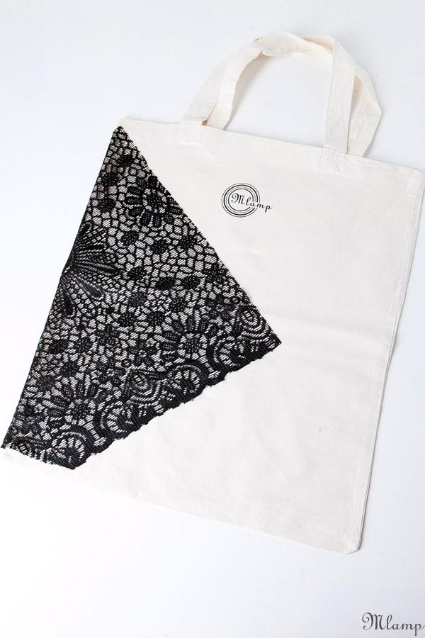 Vászon bevásárlótáska: natúr vászontáska (rövid füllel), festett, fekete csipke díszítéssel