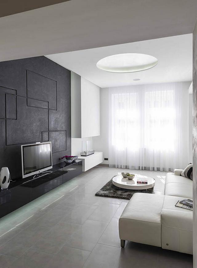 Minimál nappali és modern kandalló