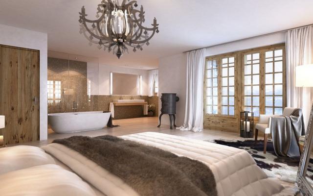 Ovális fürdőkád a hálószobában klasszikus lámpa