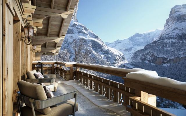 Alpesi faház hegyekre néző terasza