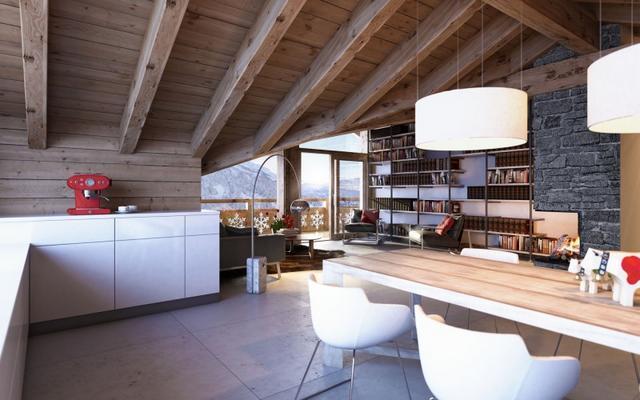 Modern étkezőasztal és fehér függeszték lámpa