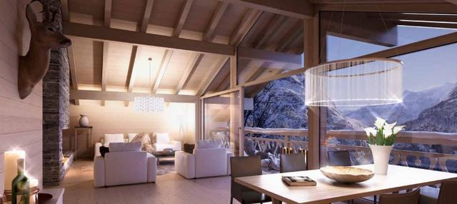 Tetőtéri lounge pihenő modern lámpákkal