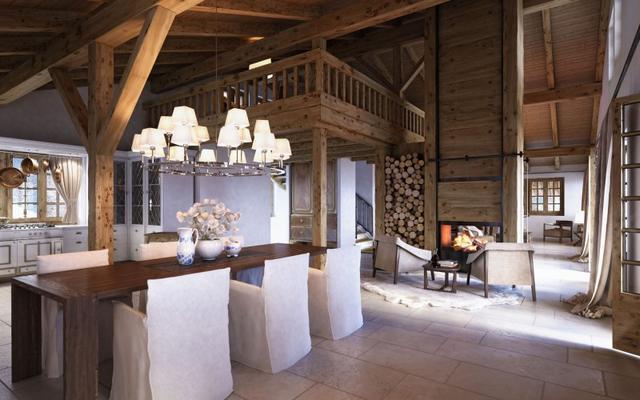 Svájci faház fagerenda modern étkező