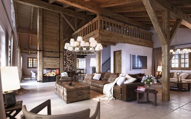 Alpesi faház belsőépítészet