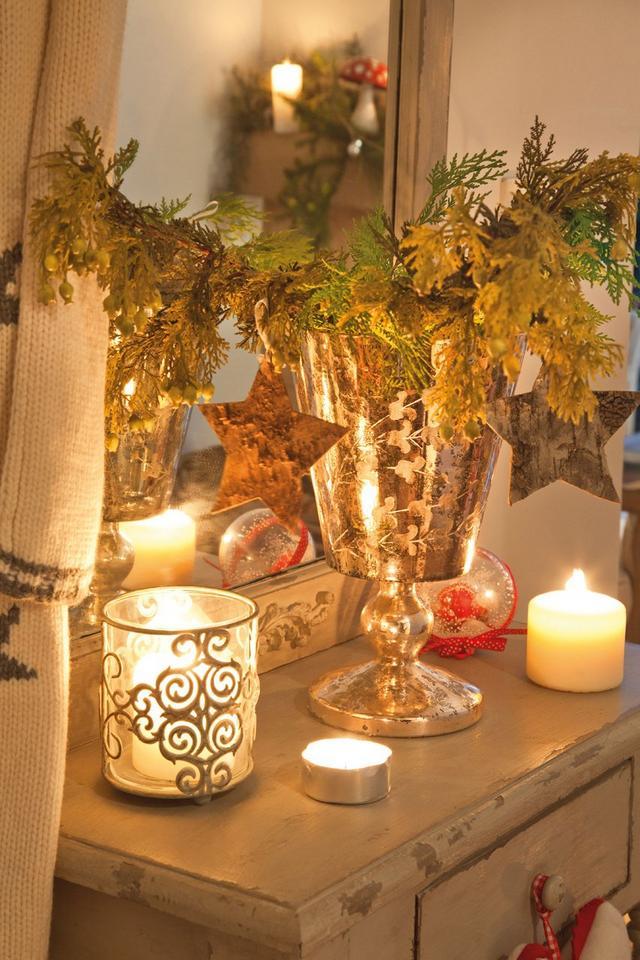 Karácsonyi mécses ezüst színben